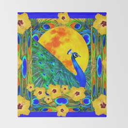 YELLOW HIBISCUS FULL GOLDEN MOON  BLUE PEACOCKS Throw Blanket
