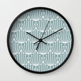 Retro Art, Floral Prints, Light Teal Wall Clock