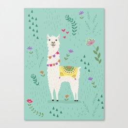 Festive Llama Canvas Print