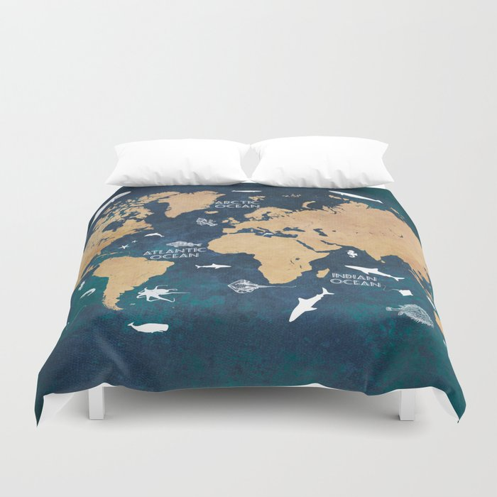 World Map Oceans Life blue #map #world Duvet Cover by jbjart