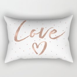 Rose Gold Glam Love Heart Confetti Rectangular Pillow
