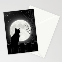 Silent Night Cat and full moon Stationery Cards