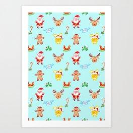 Cute Santa Claus, reindeer, bunny and cookie man Christmas pattern Art Print