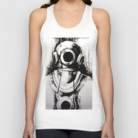 """diver Tank Tops featuring """"Diver"""" by Scott Lenaway"""