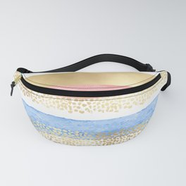 Artsy Girly Pink Gold Blue Abstract Stripes Fanny Pack