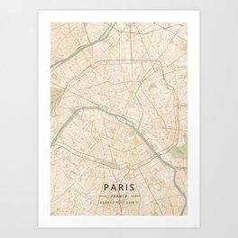 Paris, France - Vintage Map Art Print