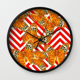 ORANGE BUTTERFLIES ON RED-WHITE GRAPHIC PATTERNS Wall Clock