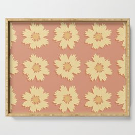 Yellow and Orange Tickseed Flower Pattern Serving Tray