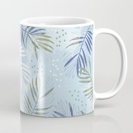 Pretty tropical Palm leaf pattern illustration - blue, kaki #tropicalart Coffee Mug
