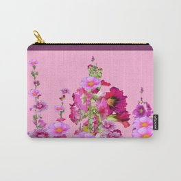 Puce Purple Color, Pink flowers Art Carry-All Pouch