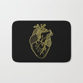 Designer Heart Gold Bath Mat