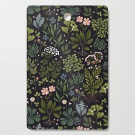 Herbarium ~ vintage inspired botanical art print ~ black Cutting Board