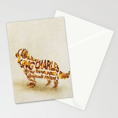 The Cavalier King Charles Spaniel Typography Art / Watercolor Painting Stationery Cards