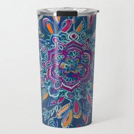 Deep Summer - Watercolor Floral Medallion Travel Mug