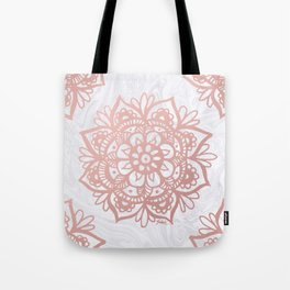 Rose Gold Mandalas on Marble Tote Bag
