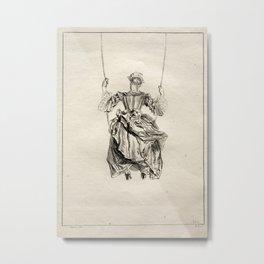 Francois Boucher - Woman on a swing 1728 Metal Print