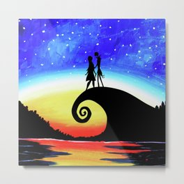 Jack And Sally Starry Night Metal Print