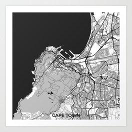 Cape Town Map Gray Art Print