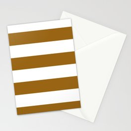 Wide Horizontal Stripes - White and Golden Brown Stationery Cards