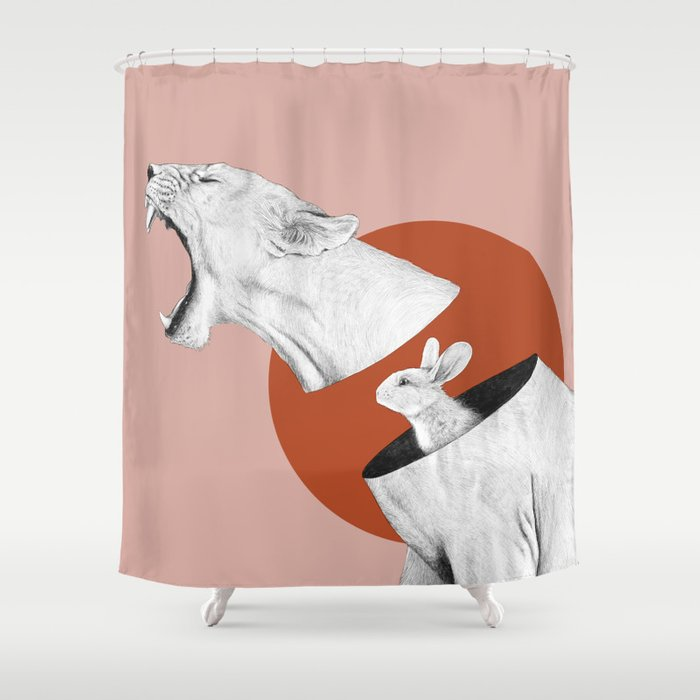 Lioness Bunny Shower Curtain