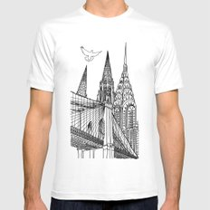 NYC Silhouettes White Mens Fitted Tee MEDIUM