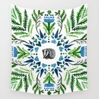 badger Wall Tapestries featuring Woodland Badger by BridJess
