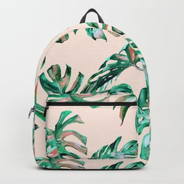Tropical Palm Leaves Coral Greenery Backpack