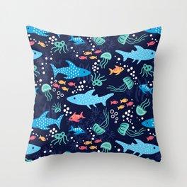 Sharks & Jellyfish Navy Blue Throw Pillow