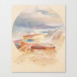 Minerva Terrace, Yellowstone 1872, Thomas Moran, Vintage Painting Canvas Print