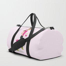 Cute Girl Who Loves To Run Cartoon Illustration Duffle Bag