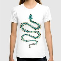 emerald T-shirts featuring Emerald & Gold Serpent by Cat Coquillette