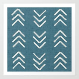 Muted teal and soft white ink brushed arrow heads pattern with textured background Art Print