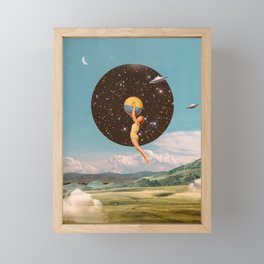 Black hole girl Framed Mini Art Print