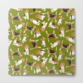 beagle scatter green Metal Print