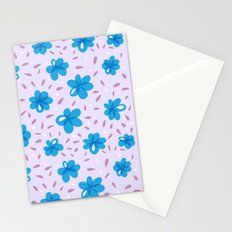 Gentle Blue Flowers Pattern Stationery Cards
