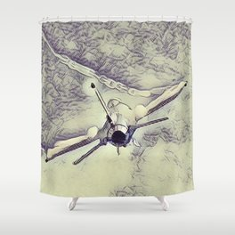 F16 High Speed Pass In Pen & Ink Shower Curtain