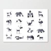 calligraphy Canvas Prints featuring Calligraphy Animals by Andrew Fox