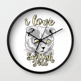 i love cat scottish fold T-shirt Wall Clock