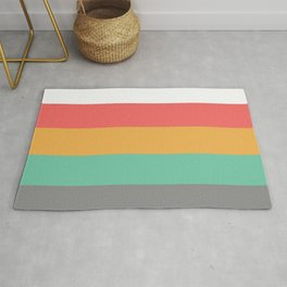 Minimal Abstract Lucite green, Coral, Grey, Honey, and White 15 Rug