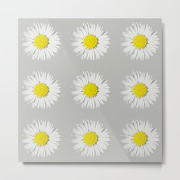 Retro Daisy · Grey Light Metal Print