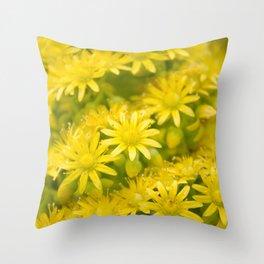Dreamy Spiral Yellow Flowers Throw Pillow