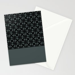 Black Square Petal Pattern on PPG Night Watch Pewter Green Stationery Cards