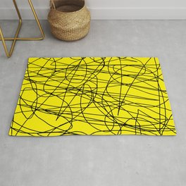 Yellow with black scribbling lines, less is more Rug