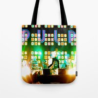 coachella Tote Bags featuring PULP in Coachella by The Electric Blue / YenHsiang Liang
