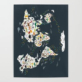Cartoon animal world map for kids, back to schhool. Animals from all over the world Poster