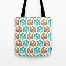 Mid Century Garden Flower Pattern Turquoise Tan Tote Bag