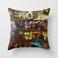 The Fantastic Voyage - a Steampunk Book Shelf Throw Pillow