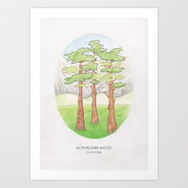 Haruki Murakami's Norwegian Wood // Illustration of a Forest and Mountains in Pencil Art Print
