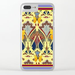 Decorative Yellow Art Nouveau Butterfly Maroon Designs Clear iPhone Case