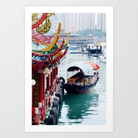 hong kong Art Prints featuring Hong Kong  by Juliette